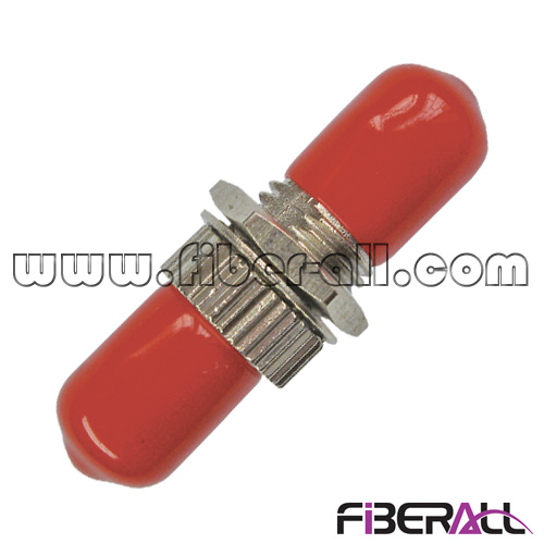 FA-AD-TP1SM-R, Simplex ST Fiber Optic Adapter with Red Cap, Single Mode, Metal