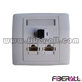FA-FXFP0303,Wall Mounted FTTH Faceplate with One SC Simplex Fiber Port and Two RJ45 Ports
