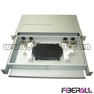 "FA-FDR1DM24G-ST Sliding Type 1U 19"" Rack Mounted Fiber Optic Patch Panel with Drawer and 24 ST Ports Metal Gray"