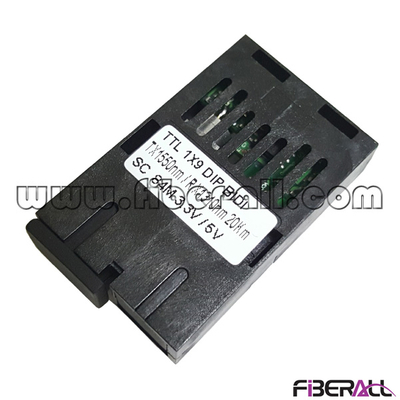 FA-TC90US35-20&FA-TC90US53-20, TTL, 1X9 Fiber Optic Transceiver, 84M, Single Fiber, BI-DI, 1310nm/1550nm, 20Km, SC, 3.3V
