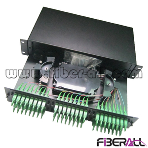 "FA-FDR2MD48E 2U Rack Mounted Fiber Optic Termination Box For E2000 Optical Adapter 1U 19"" Metal Black 48 Fibers"