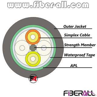 FA-OCWP0304 4 Fibers Waterproof Fiber Optical Cable With Metal Armour And PE Jacket